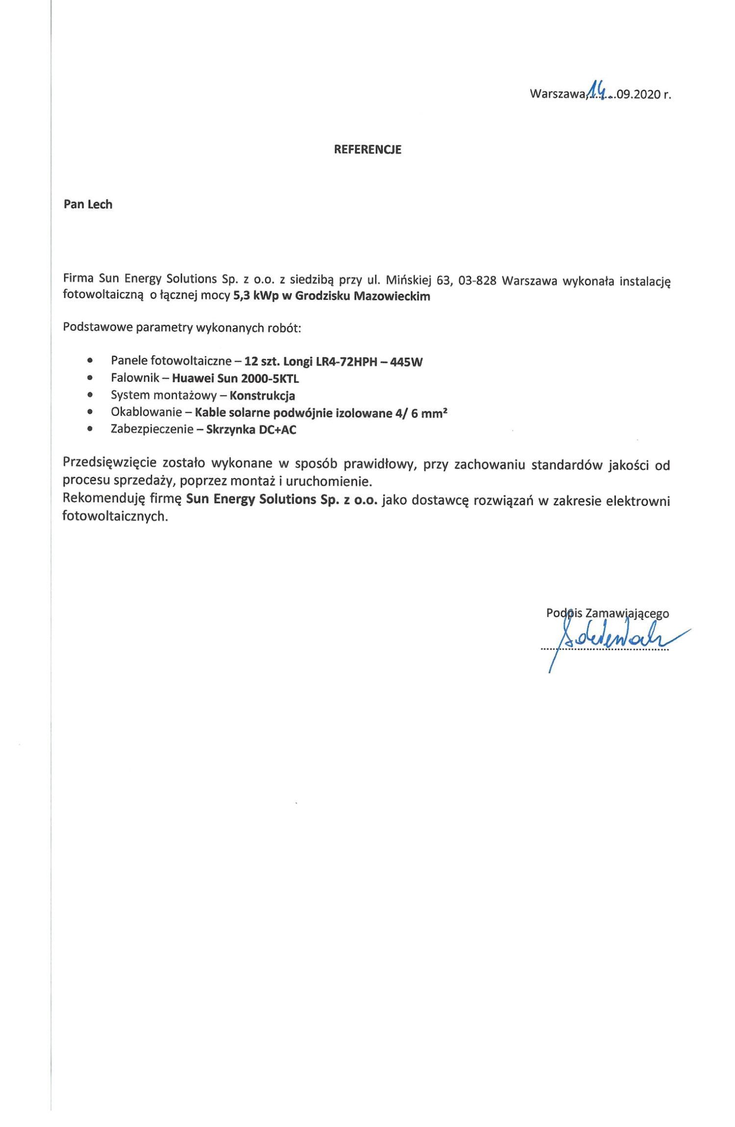 Referencja Sun Energy Solutions - Wrzesień 2020